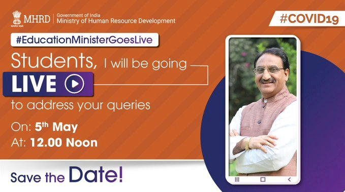 Education Minister goes live on 5th may 2020 at 12 noon